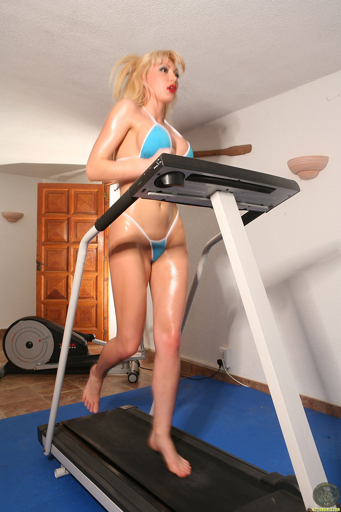 Sexy girl on treadmill