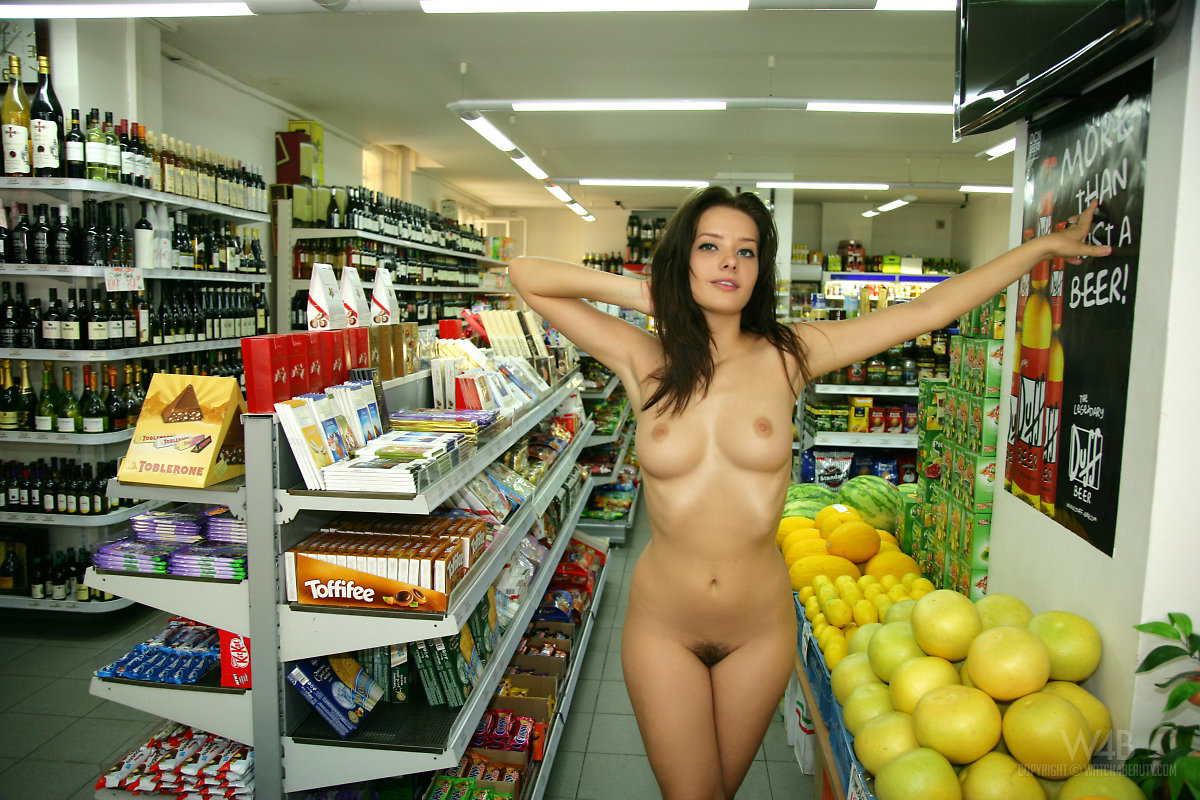 Nude naked girl shopping