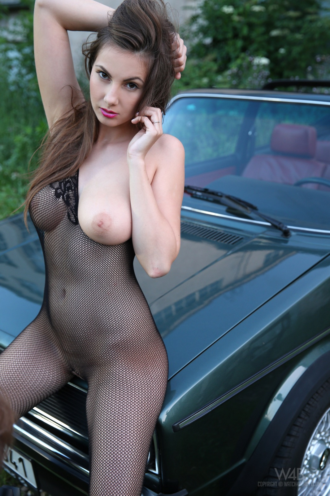 The same nude girl full body fishnet